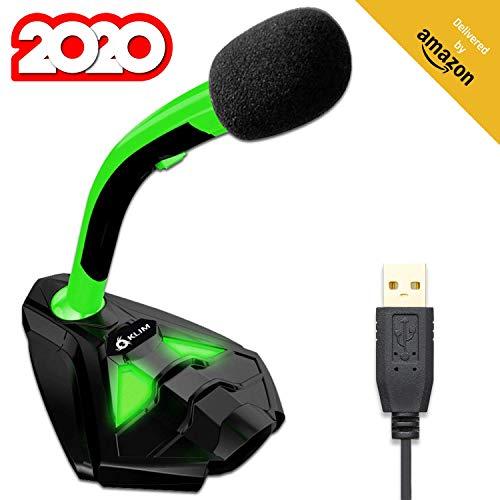 KLIM™ Voice Micrófono USB con Base para Ordenador - Micro de Escritorio, Micrófono para Jugadores - Verde y Negro -Nueva Versión 2020