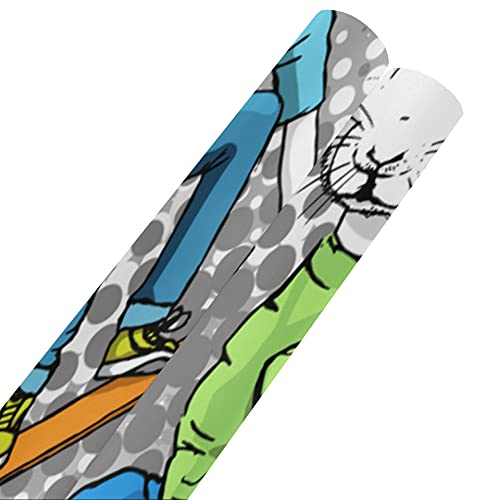 Kleine Tiere auf Skateboards Geschenkpapier 58x23inch 2 Rollen Geschenkpapier Geschenkpapier Set für Muttertag Ostern Hochzeiten Geburtstage oder jeden Anlass