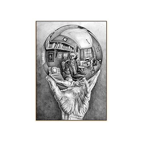 Hand met reflecterende bol door MC Escher Meester van de illusie Schilderij Prints Posters Canvaskunst Muurfoto's Woondecoratie -40x60cm Geen lijst