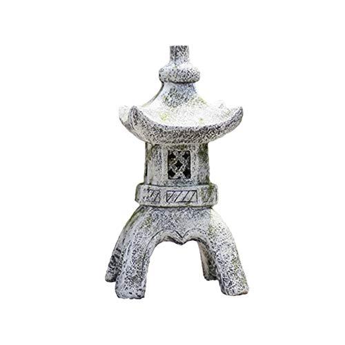 WAYERTY Pagoda Stupa Jardín Linterna Ornamentos Estilo Japonés Asiático Decorativos Al Aire Libre Estatuas Patio Yarda Porche Coleccionables Figura Estatua A 32x32x62cm(13x13x24inch)