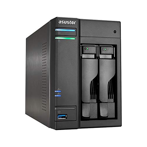 Asustor AS6302T 2-Bay NAS System (Intel Celeron- Apollo Lake, 2GB RAM, Gigabit-LAN mit Link-Aggregation, HDMI 2.0, HotSwap, Raid 0, 1, JBOD) schwarz
