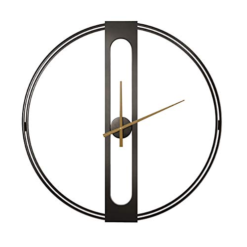 Nordic Eenvoud Wall Clock, Metal Fashion Unique wandklokken Grote Silent decoratieve Hangende Klokken for Slaapkamer Woonkamer Office (Color : Black, Size : 50cm)