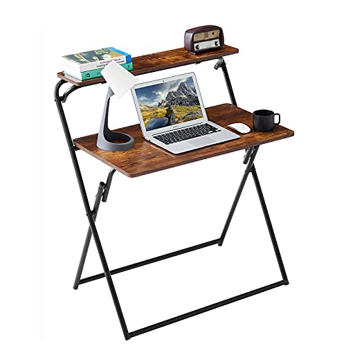 LeChamp Computer Desk for Home,Folding Home Office Desk for Small Space 2-Tier PC Laptop Desk Writing Table with Storage Shelf for Home Office Study,Bedroom, NO Assembly Brown