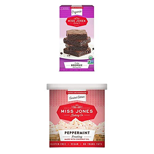 Miss Jones Baking Organic Fudge Brownie Mix with Holiday Peppermint Frosting, Non-GMO, Vegan-Friendly: Rich Cocoa, Peppermint Crunch Pieces (Pack of 4)