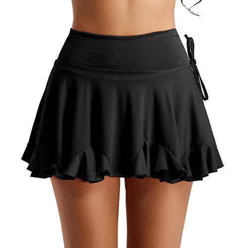 dPois Frauen Kurz Mode Tanzrock Ballett Rock Latin Salsa Tango Dance Rock Frauen Dancewear Röckchen Sport Rock Verkleidung Tanzkleidung Schwarz Rot Gr.S-XXXL Schwarz Small