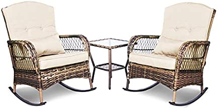 ENSTVER 3 Pieces Patio Conversation Set w/ 2 Rattan Wicker Rocking Chairs and Glass Table,for Garden Backyard Lown Porch (Beige)