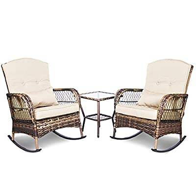 ENSTVER 3 Pieces Patio Conversation Set w/ 2 Rattan Wicker Rocking Chairs and Glass Table,for Garden Backyard Lown Porch… - 【Elegant Style 】:Give your outdoor living space an upgrade with this wicker rocking chair .Whether placed on your patio, porch or sunroom, the chair will add a touch of elegance to your space. 【Comfortable Design】:Includ 2 chairs that can swing in parallel and a table, rocking chair with thicker sponge cushion,lumbar and back pillow, ergonomically designed rocking chair more comfortable. 【 Sturdy & Durable】:Powder-coated steel reinforced frame makes the structure of the chair firm, stable can enhance load-bearing capacity. - patio-furniture, patio, conversation-sets - 41nPBLyVZtL. SS400  -