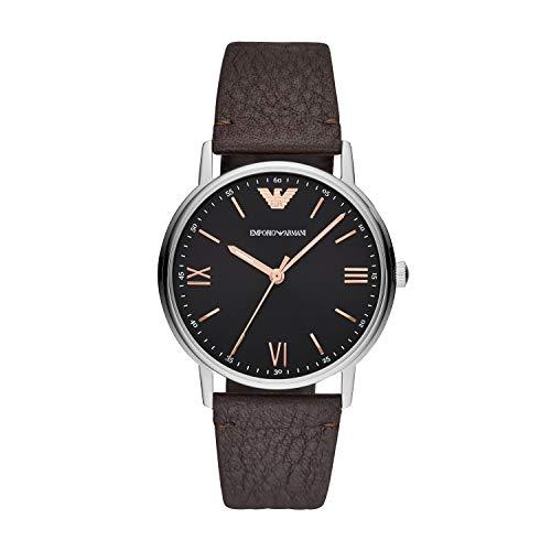 Emporio Armani Herren Analog Quarz Uhr mit Leder Armband AR11153