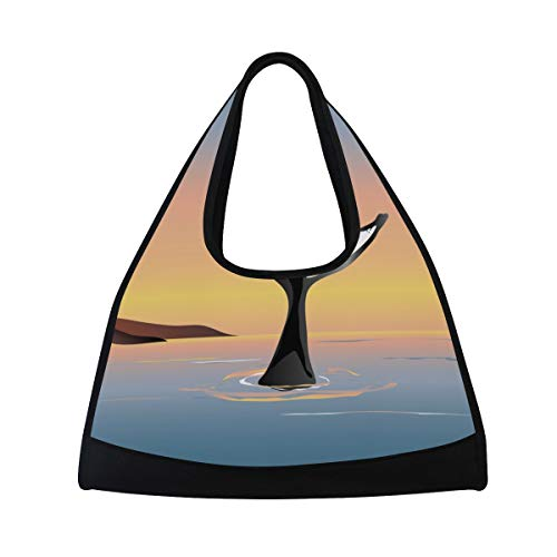 NISENASU Sporttasche,Vector Illustration Whale Fluke Above Water,Neue Sport Reisetaschen Tennisschläger Rucksack Badminton Kurze Reisetaschen tragbare Umhängetasche (20 × 6.7 × 18.5 in)