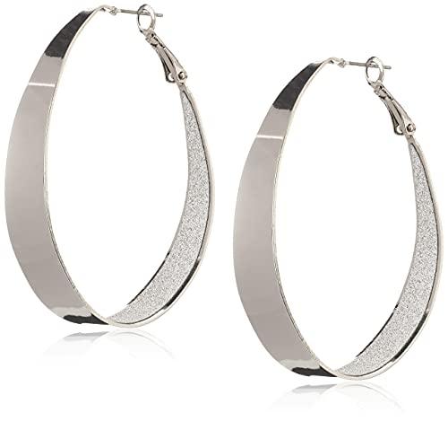Guess Large Oval Glitter Silver Hoop Earrings