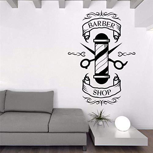 42X56 Cm Dibujos Animados Peluquería Tijeras Bigote Peluqueros Salón De Belleza Corte De Pelo Salón Arte Pared Vinilo Etiqueta Ventana Calcomanía