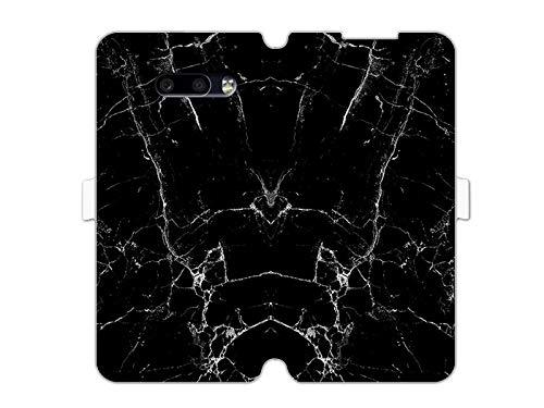 etuo Hülle für LG G8x ThinQ - Hülle Wallet Book Fantastic - Schwarze Marmor Handyhülle Schutzhülle Etui Hülle Cover Tasche für Handy