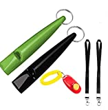 Nilook Dog Whistles & Dog Training Clicker,Professional Ultrasonic Plastic Dog Whistle with Lanyard Dog Training Clicker For Recall Stop Barking(3Pcs)