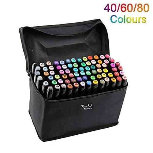 Artista Necessario grafico pennarello Double Ended Finecolour Sketch Marker largo e punta fine punta con il sacchetto nero (Nero 80 colori)