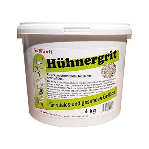 Supravit Hühnergrit Geflügelgrit 4 kg - Muschelkalk für Knochen - Futterkalk Naturprodukt für Hühner