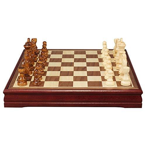 chaonong Schach High-End Massivholz Kinder Studentenwettbewerb Spezielle Große Schachfiguren Schwarz-Weiß-Schachbrett Holz Western Chessoard Männer Damen Geschenk (Size : Large)