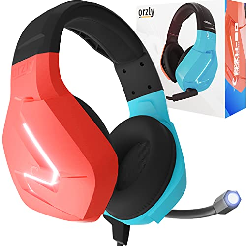 Orzly Gaming Headset with Mic Compatible with Nintendo Switch Joycon Colour Match & Added Features Gaming Consoles PC Xbox ps4 ps5 MacBook.Led Light,Microphone & Remote -Hornet RXH-20 Tanami Edition