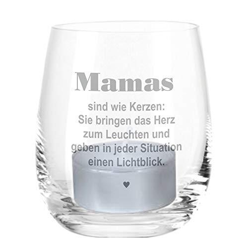 4you Design Leonardo Windlicht Glas mit Gravur Mamas sind wie Kerzen: Sie bringen das Herz zum Leuchten und geben in jeder Situation einen Lichtblick, Mama, Windlicht inkl. Kerze (8x7,5cm)