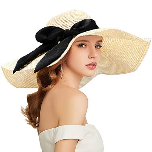 Tencoz Cappello di Paglia Donna, Cappello da Sole Donna Pieghevole, Cappello da Spiaggia Estivo Tesa Larga per L'Estate in Spiaggia o in Vacanza, Protezione UFP 50 (Beige-3)