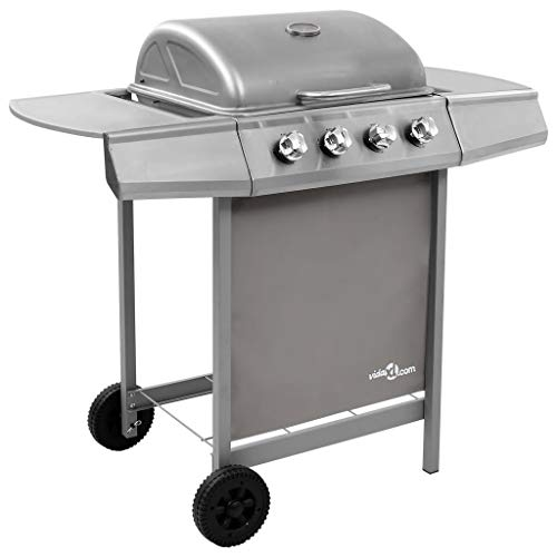 vidaXL Gas Barbecue with 4 Burners BBQ Grill Cooking Camping Hiking Picnics Garden Outdoor Patio Terrace Silver