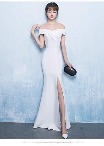 JJHR Kleider Schulterfrei Burgund Abendkleid Mädchen Hochzeit Kleid Reißverschluss Brautkleider Schlitz Robe-Weiß_12