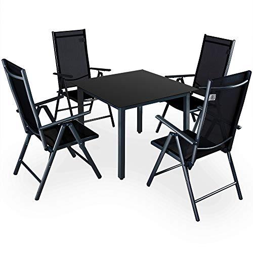 Deuba Conjunto de jardín Juego de Mesa y sillas Plegables de Aluminio Negro para 4 Personas Interior o Exterior terraza