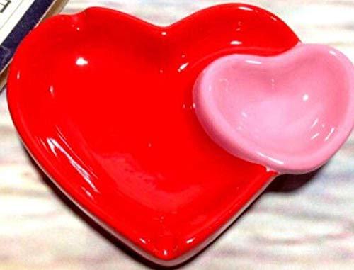 CHOUREN Cenicero, Doble Linda del corazón del Amor de cerámica cenicero Diversión hogar Decorativos de cerámica Tienen Lavabo cenicero z