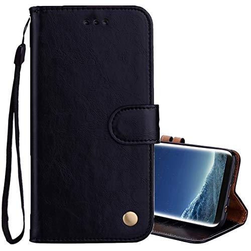Huldoro -Para el caso de cuero Sumsung Galaxy S8 + Business Style Cera de petróleo Textura horizontal de tono con el sostenedor y ranuras for tarjetas y monedero (Negro) Manga protectora de dibujos an