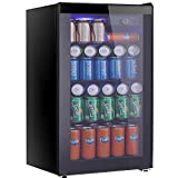 Tavata Beverage Refrigerator and Cooler - 3.2 Cu. Ft. Drink Fridge with Glass Door for Soda, Beer or Wine - Small Beverage Center with 5 Removable Shelves for Office/Man Cave/Basements/Home Bar (3.2 Cu.Ft)