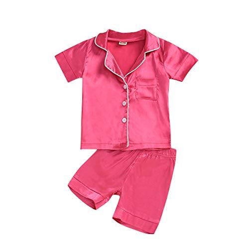 1-7 años niña con botones solapa de manga larga / manga corta + pantalones cortos/pantalones elásticos set pijama Rosa Roja Manga Corta 6-7 Años