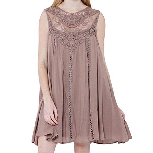 ManxiVoo Women Chiffon Mini Dress Summer Casual Solid Stitching T-Shirt Dress O-Neck Sleeveless Lace Loose Dress (XXL, Pink)