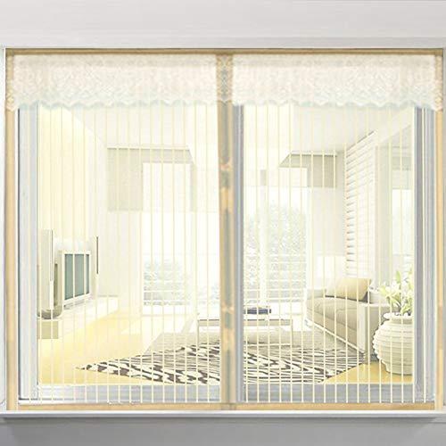 XGXQBS Magnetisch raam muggennet, streep raamscherm netting mesh gordijn met toverstband encryptie anti-moskito raamscherm 150x150cm(59x59inch) Crème-kleuren