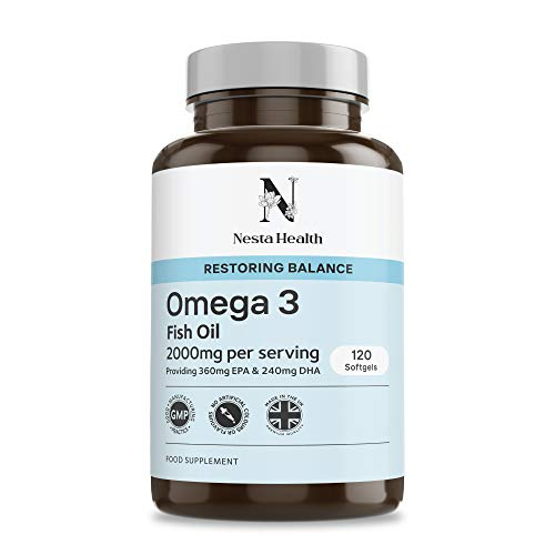 Omega 3 Pure Fish Oil 2000mg – 360mg EPA & 240mg DHA Per Daily Serving – 120 Softgel Capsules – for Maintenance of Normal Heart and Brain Function – Nesta Health Made in The UK