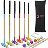 Deluxe Croquet Game Set by Rally and Roar - 35in Handles - Comfort Grips - 8.8oz Balls - 6-Player Yard Game - Full Sized - 6 Mallets, 6 Balls, 9 Wickets, 2 End Posts, Rules, Bag - Outdoor Party Games