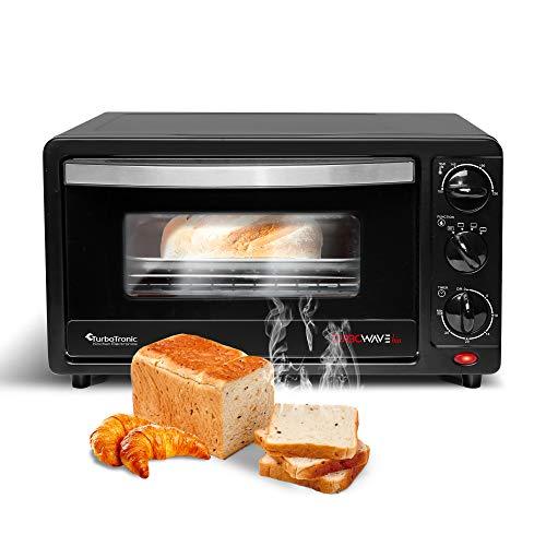 TurboTronic Mini-Backofen mit Doppelverglasung, elektrischer Grillofen, Pizza-Ofen mit Timerfunktion (14 Liter)