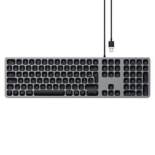 SATECHI Teclado con Cable USB de Aluminio con Keypad Numérico, Compatible con iMac - 2020 iMac, iMac Pro, 2020 Mac Mini, y más (Francés, Gris Espacial)