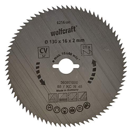 Wolfcraft 6256000 6256000-1 Hoja de Sierra Circular CV, 80 dient, Serie Azul diam. 130 x 16 x 2 mm, 130x16x2mm