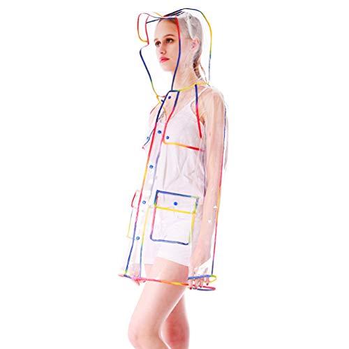Poncho transparente reutilizable de moda EVA impermeable colorido impermeable chaqueta impermeable chaqueta impermeable chaqueta de lluvia para adultos (M) Varios colores. M