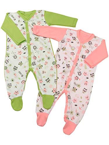 Klekle Baby Mädchen Schlafanzüge (2er Pack) Eule Rosa Eule Grün 22812 Größe 68