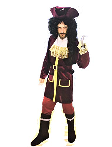 SP Disfraz de Pirata. Edición de Lujo. Talla XL, de hombre. Terciopelo. Cubre-botas y garfio: NO INCLUÍDOS.