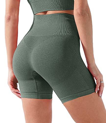 COMFREE Damen Hollow Out Sport Yoga Sommer Shorts Kurze Leggings Atmungsaktiv Hose Workout Pants für Gym Fitness Dunkelgrün M