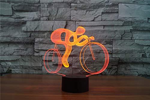 3D Mountainbike Night Light Illusion Lamp 7 kleur veranderen, met afstandsbediening met USB-kabel Het is een verjaardagscadeau voor schattige kinderen en kan ook worden gebruikt voor huisdecoratie