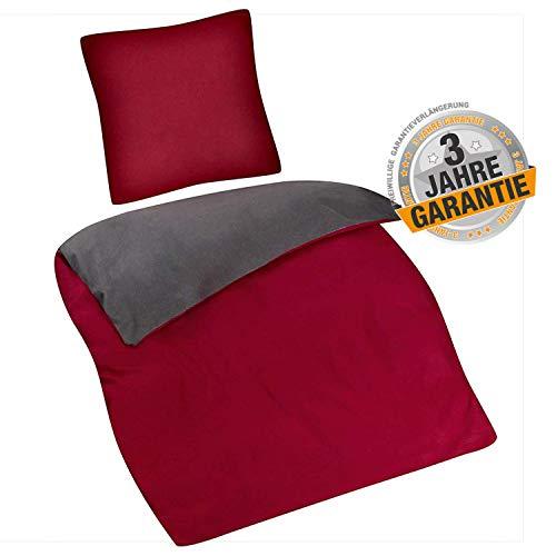 Aminata Kids - Premium warme Biber-Bettwäsche-Set Uni 135-x-200 cm, Baumwolle mit Reißverschluss, kombinierbar Zwei-farbig, dunkel-grau, anthrazit, Wein-rot, Bordeaux, warm, für Damen & Männer