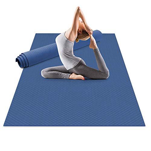 Odoland Tapis de Yoga Extra Large 183x122x0.6cm, Grand Tapis Gym en TPE matériaux Recyclable, Ultra antidérapant et Durable pour Pilates Gym Exercices Méditation