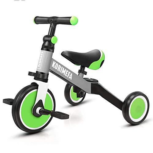 KORIMEFA 3 in 1 Triciclo Bambini 1 Anno Bicicletta Senza Pedali 2 Anni Bambini Triciclo per Bambini 1-3 Anni (Verde + Grigio)