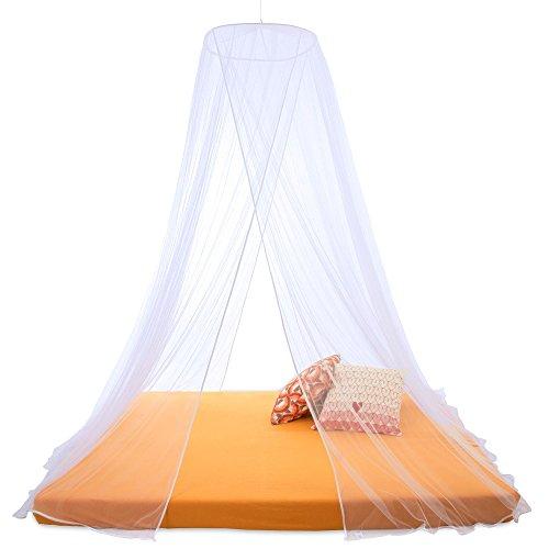 CelinaSun Sumkito Moskitonetz XXL Doppelbett weiß Mückennetz rund Bettvorhang 2 Eingänge Insektenschutz