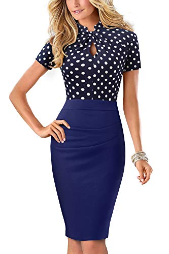 HOMEYEE Damen Vintage Stehkragen Kurzarm Bodycon Business Bleistift Kleid B430 (EU 44 = Size XXL, Dot)