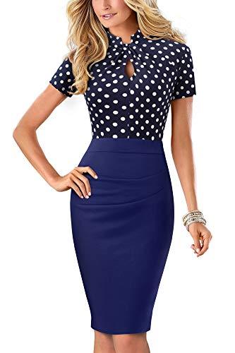 HOMEYEE Damen Vintage Stehkragen Kurzarm Bodycon Business Bleistift Kleid B430 (EU 36 = Size S, Dot)