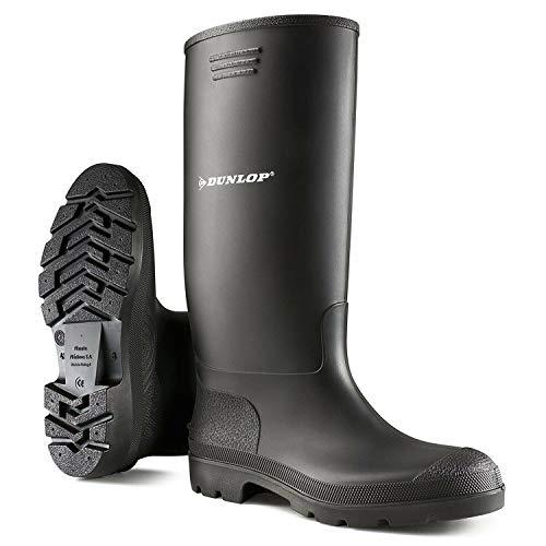 Dunlop Gummistiefel schwarz und grün Herren vollständig wasserdicht Größen 3-12, Schwarz - schwarz - Größe: 43 EU