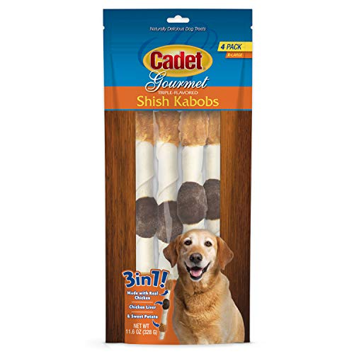 Cadet Premium Gourmet Rawhide Triple-Flavored Shish Kabobs Dog Treats Chicken, Liver & Sweet Potato X-Large